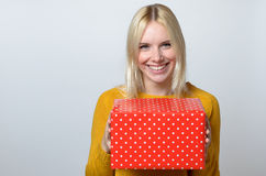 Happy Woman Holding Present Royalty Free Stock Photo