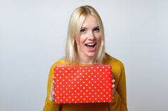 Happy Woman Holding Present Royalty Free Stock Image