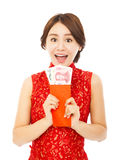 Happy  woman holding a red envelope.happy chinese new year Stock Image