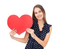 Happy woman holding red heart Royalty Free Stock Photo