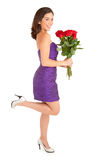 Happy Woman Holding Roses Royalty Free Stock Photography