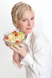 Happy woman holding a salad Royalty Free Stock Photography