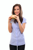 Happy woman holding a sandwich Royalty Free Stock Image