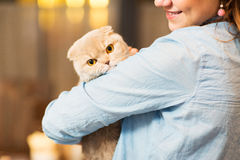 Happy woman holding scottish fold cat at home Stock Image