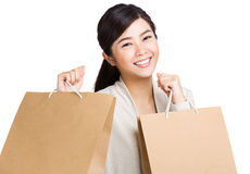 Happy woman holding with shopping bag Stock Photos