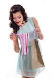 Happy woman holding shopping bag Stock Photography