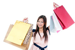 Happy Woman Holding Shopping Bags Stock Images