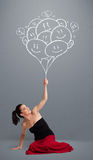 Happy woman holding smiling balloons drawing Stock Photos