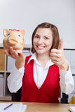 Happy woman holding thumbs up Stock Photos