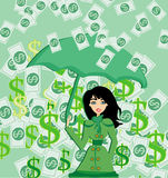 Happy woman holding an umbrella in a money rain Royalty Free Stock Photos