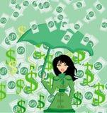 Happy woman holding an umbrella in a money rain Royalty Free Stock Photos