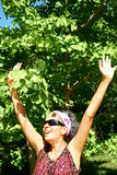 Happy Woman Arms Outstretched Royalty Free Stock Photos