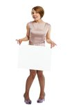 Happy woman holding white board Royalty Free Stock Images