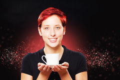 Happy woman holding white cup of coffee Royalty Free Stock Photos