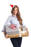 Happy woman holding wrapped presents Royalty Free Stock Photos