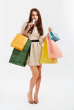 Happy woman holds a credit card and shopping bags Royalty Free Stock Images