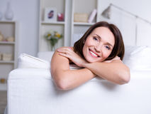 Happy woman at home Royalty Free Stock Photos