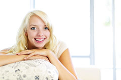 Happy woman at home Royalty Free Stock Image