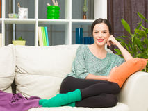 Happy woman at home Stock Photography