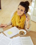 Happy Woman at Home Studying Royalty Free Stock Image