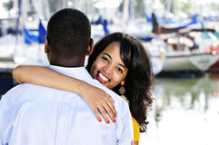 Happy woman hugging man Royalty Free Stock Photos