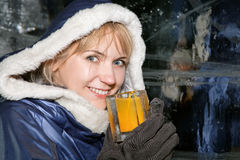 Happy woman in ice-bar stock images