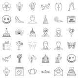 Happy woman icons set, outline style Royalty Free Stock Photo