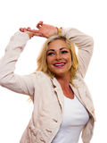 Happy woman. Image of a happy smiling woman with hands up over her head stock image