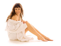 Happy Woman In Bathrobe Stock Images