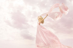 Happy Woman In Pink Long Dress, Girl Flying Silk Scarf Cloth