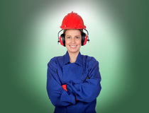 Happy woman industrial worker Stock Image