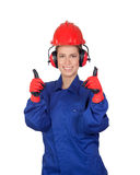 Happy woman industrial worker Royalty Free Stock Images
