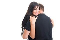 Happy woman inlove hugging man or boyfriend Stock Photo