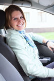 Happy woman inside of car Stock Photography