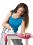 Happy woman with iron Royalty Free Stock Photos