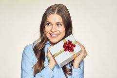 Happy woman isolated portrait with white gift box. Royalty Free Stock Images