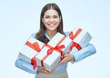 Happy woman isolated portrait with white gift boxes. Royalty Free Stock Photo
