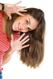Happy woman isolted Stock Images