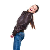 Happy woman in jacket Royalty Free Stock Photos