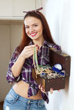 Happy woman with jewelry in treasure chest Royalty Free Stock Photography