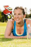 Happy woman jogger training in the park Stock Photography