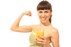 Happy woman with juice stock photography