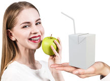 Happy woman and juice box template. royalty free stock image