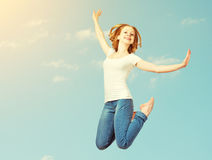 Free Happy Woman Jump In The Sky Royalty Free Stock Photos - 38185008