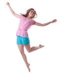 Happy woman jump and smile. Isolated on white Royalty Free Stock Photo
