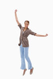 Happy woman jumping Stock Photos