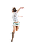Happy woman jumping. Happy woman in a white green clothes jumping, isolated on white Stock Image