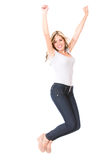 Happy woman jumping Stock Images