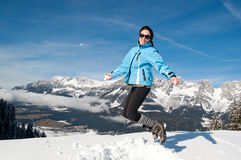 Happy woman jumping Royalty Free Stock Image