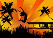 Happy woman jumping vector illustration